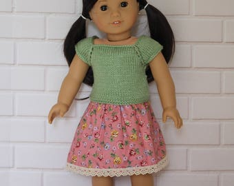 """Green Knitted Top Pink Floral Skirt - Dolls clothes to fit 20"""" Australian Girl dolls & 18"""" American Girl type dolls"""
