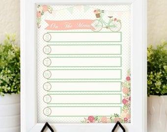 Printable Menu Planner - Weekly Menu Planner - Floral Menu Planner - Meal Planner - Enjoy the Ride - Menu Printable - Dry Erase Menu PLanner