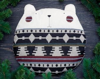 Decorative Bear Pillow, Tribal Cushion, Native Pillow, Bear Beanbag, Tribal Bedroom Decor, Round Cushion, Housewarming Gift, Gift for Him