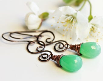 Natural Chrysoprase Earrings, copper wire wrap, mint green gemstone, hand-forged copper wire, modern artisan earrings, holiday gift for her