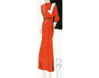 Plus Size (or any size) Vintage 1934 Dress Sewing Pattern - PDF - Pattern No 1601 Claire