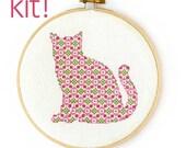 Modern Cross Stitch Kit, DIY Kit, Embroidery Kit, Pretty Kitten in Pink and Green, Beginner Cross Stitch Pattern, Nursery Decor