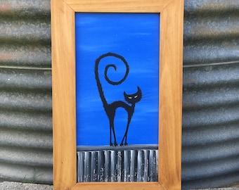 Cat on Cool Tin Roof Rustic Framed Original Art, Acrylic Painting, Australian Artist, Cat Art, Gift for Cat Lover, Cat Painting, Black Cat