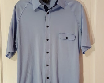 CHALLENGER BLUE SHIRT // Baby Blue Polyester Men's Short Sleeve Bowling Shirt Button Down Size m/l Retro Rockabilly Navy