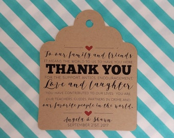 Large Wedding Gift Tags - Thank You For The Love and Laughter - Customizable Personalized (WT1707)