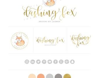 Watercolor Fox Logo design - Custom Fox Logo - Gold Foil Logo - PreDesigned Custom Logo - boutique logo - branding kit - photography logo