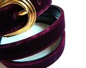 Plum Velvet Vintage Belt / Bold Jewel Toned Belt / Plush Velvet Belt in Deep Purple / 36 to 40 Waist or Hips