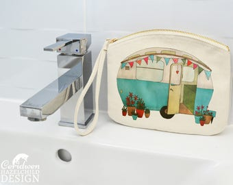 Caravan Canvas Zip Purse, Makeup Bag, Coin Purse, Small Accessory Pouch
