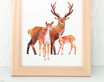Deer family print, Stag print, Baby deer wall art, Mother, father and child, New born baby art, Children's nursery art, Baby animals nursery