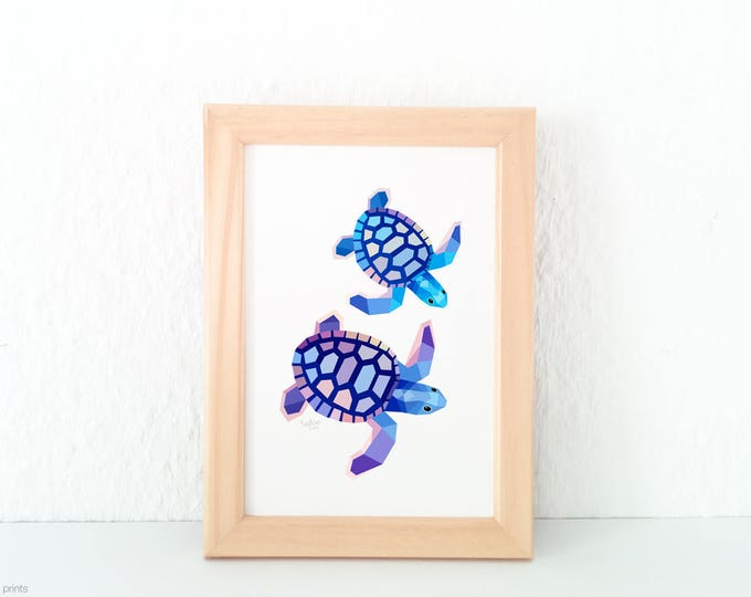 Sea turtle illustration, Turtle print, Australian wildlife art, Geometric turtle, Purple blue sea, Ocean art, Sea creatures, Turtle wall art