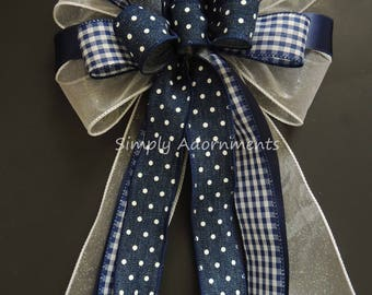 Navy Check White Dots Wreath Bow Navy White Bow Gingham and Dots Navy Birthday Party decoration Navy Dots Check Handmade Gift Bow Door Bow