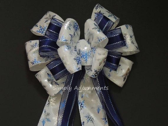 White Navy Blue Snowflakes Bow Holidays Tree Topper Blue Bow Blue Snowflakes Gift Bow Hanukkah Blue Bow Holiday Blue Wreath Bow