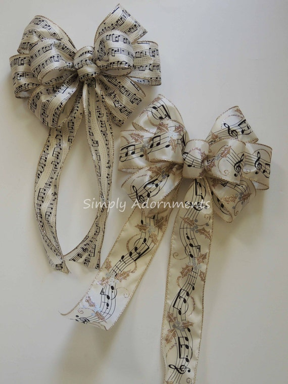 Ivory Gold Music Sheet Christmas Bow Black Music Christmas Tree Bow Music Themed Party Decor Music Sheet Bow Music Themed Tree Bow Gift Bow