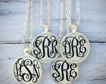 Silver Monogram necklace, Monogrammed gifts, Bridesmaid Gift, Initial Necklace, Monogram Necklace, Bridal Shower Gifts