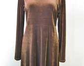 Brown Velvet Maxi Dress /...