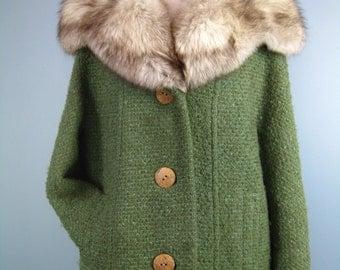 Green Wool Coat / Vtg 60s 70s / Constantino Textured Green Wool coat with Huge fur collar