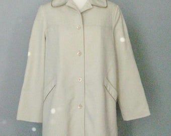 Spring Coat / Vtg 70s / Forecaster Water Resistant Spring Coat / Beige Car Coat