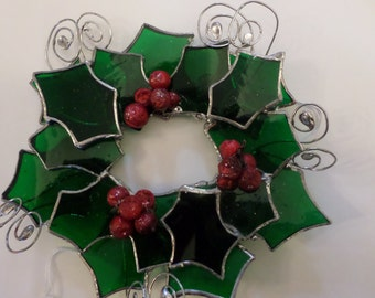 Holly wreath, stained glass, hanging, gift idea.