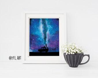 Adventure -Watercolour milky way painting, Galaxy painting, Watercolor galaxy, Nature wall art print, 8x10 print