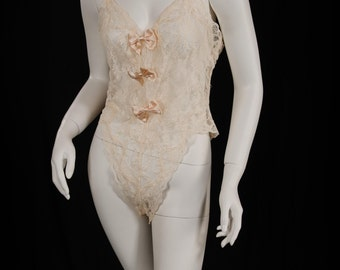 Vintage Victoria's Secret Gold Label Sheer Lace Teddy Lingerie Cream Ivory Size Small