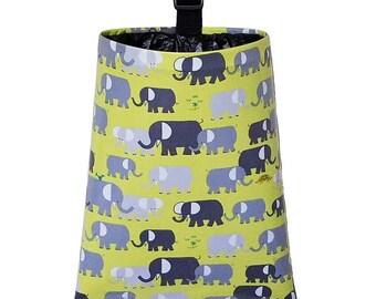 Laminated Cotton Trash Bag  -  Elephants