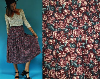 1980s Plum Purple Floral High Waist Pleated Laura Ashley Skirt