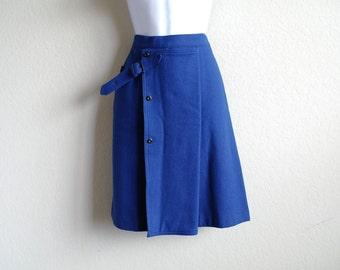 Vintage Gianfranco Ferre Wool Skirt - Oaks - Royal Blue Skirt - Italian Designer - Vintage Designer - New Old Stock - 1970s - 44 - 27 Waist