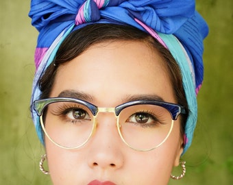 Vintage Eyeglasses 1990's Cat Eye Combination Frame Made In Taiwan Large Size Brushed Dark blue Color New Old Stock