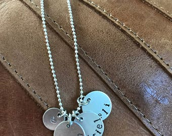 Hand Stamped Necklace with Kids Names and Heart