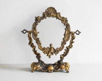 Brass vanity mirror, make up mirror, bedroom mirror, bathroom mirror, vintage mirror