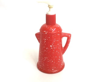 Vintage RED And White Paint SPLATTER Soap Dispenser / AVON Country Style Coffee Pot Lotion Bottle