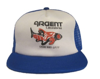 Vintage Argent Laboratories Mesh Trucker Hat - snapback snap back style - Blue and White - Lab - Fish - Mad Scientist
