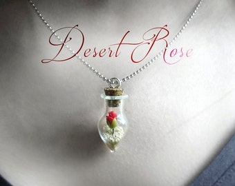 Desert rose necklace, I love you girlfriend gift, for her, glass vial necklace, flower in a bottle necklace romantic jewelry, women's gifts