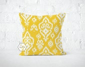 Yellow Ikat Pillow Cover - Raji Corn Yellow - Lumbar 12 14 16 18 20 22 24 26 Euro - Hidden Zipper Closure