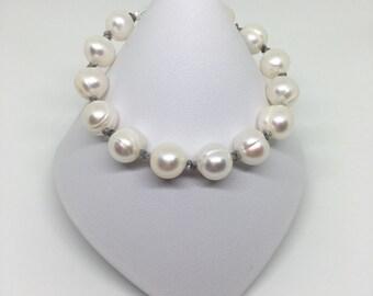 Pearl and Diamond Bracelet, Pearl Bracelet, Rough Diamond Bracelet, Sterling Silver Bracelet, Birthstone Bracelet, April Birthstone, Silver