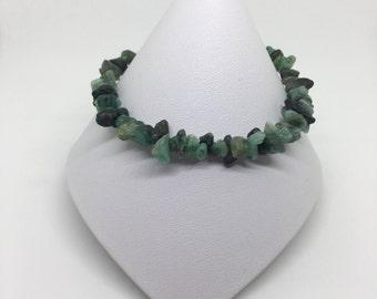 Emerald Bracelet, Rough Emerald Bracelet, Raw Emerald Bracelet, Sterling Silver Bracelet, Emerald and Silver Bracelet, Silver Bracelet