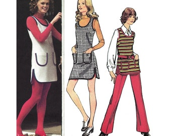 """1972 Scoop Neck Sleeveless Shaped Hem Mini Dress/Tunic, Patch Pockets, Side Slits, Beach Cover-Up and Pants, Simplicity 5205, Bust 38"""" Uncut"""