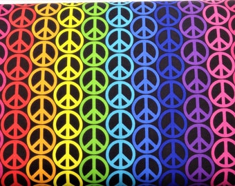 """Rainbow Peace Symbols Fabric, Rainbow Peace, 44"""" wide, by the half yard, 100% Quilting Cotton"""