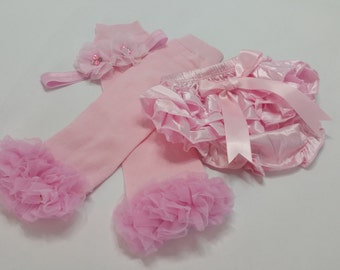 Matching Pink Baby Outfit, Take Home Outfit, Diaper Cover with Matching Headband/Leg Warmers, Baby Leg Warmers, Toddler Leg Warmers,