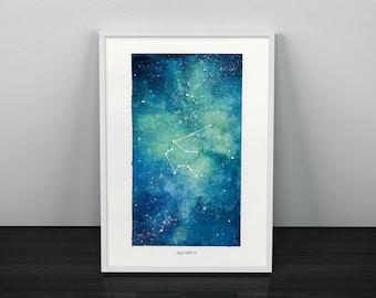 Aquarius, Zodiac Sign, Watercolor Print, 5x7, 8x10, Wall Art, Galaxy, Constellation, Stars, Astrology, Astronomy, Gift, Giclee Print