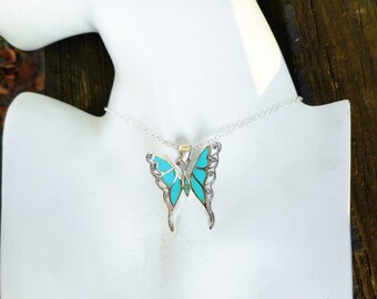 Butterfly necklace, turquoise necklace,blue green turquoise necklace,turquoise pendant,blue butterfly pendant,gift ideas,turquoise necklaces