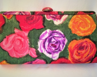 Vintage Walman Roses Clutch from Bergdorf Goodman, NY c1960