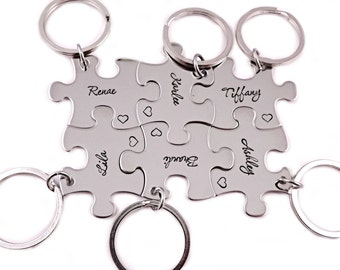 Bridesmaid Gift Puzzle Piece Set - Engraved Puzzle Piece Key Chains - Wedding - Bridal Party - Wedding Puzzle - You Choose Number - 1272