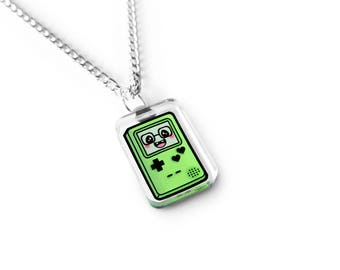 Tiny Green Gamer Cutie Necklace - Kawaii Necklace, Gamer Gift, Geek Gift, Geek Jewelry, Video Game Jewelry