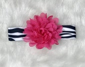 CLEARANCE SALE - Newborn Baby Girl Zebra Headband, Zebra Hot Pink, Baby Girl Accessories, Baby Photo Prop, Baby Girl Gift, Baby Hair Bow