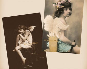 Fantasy Child As Cupid - 2 New 4x6 Vintage Postcard Image Photo Prints - AN05-36