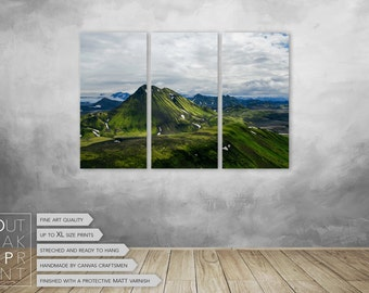 Iceland nature landscape triptych canvas, Ready to hang home decor, Nature Photography, wall art