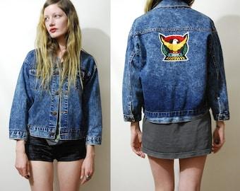 90s Vintage ACID WASH Denim Jacket Embroidered Eagle Back Patch Cropped Jeans Jacket Patched Blue Grunge Bohemian 1990s vtg XS S
