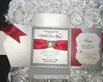 Quinceanera Invitation Sweet Sixteen Bat Mitzvah Aquamarine Red