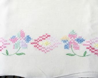 Vintage Pillowcase, Beautiful Cross Stitch Flowers